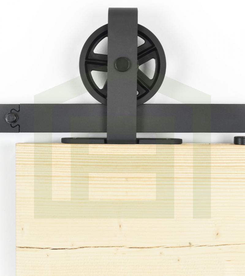 Schuifdeursysteem spaakwiel bovenop zwart