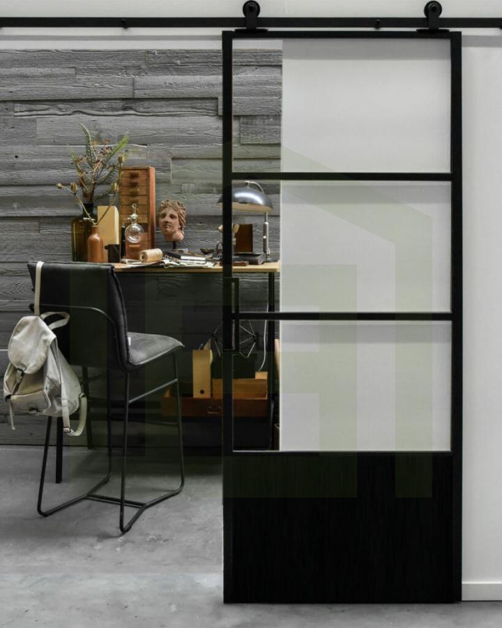 Loftdeur Aluminium met glas en kickplate